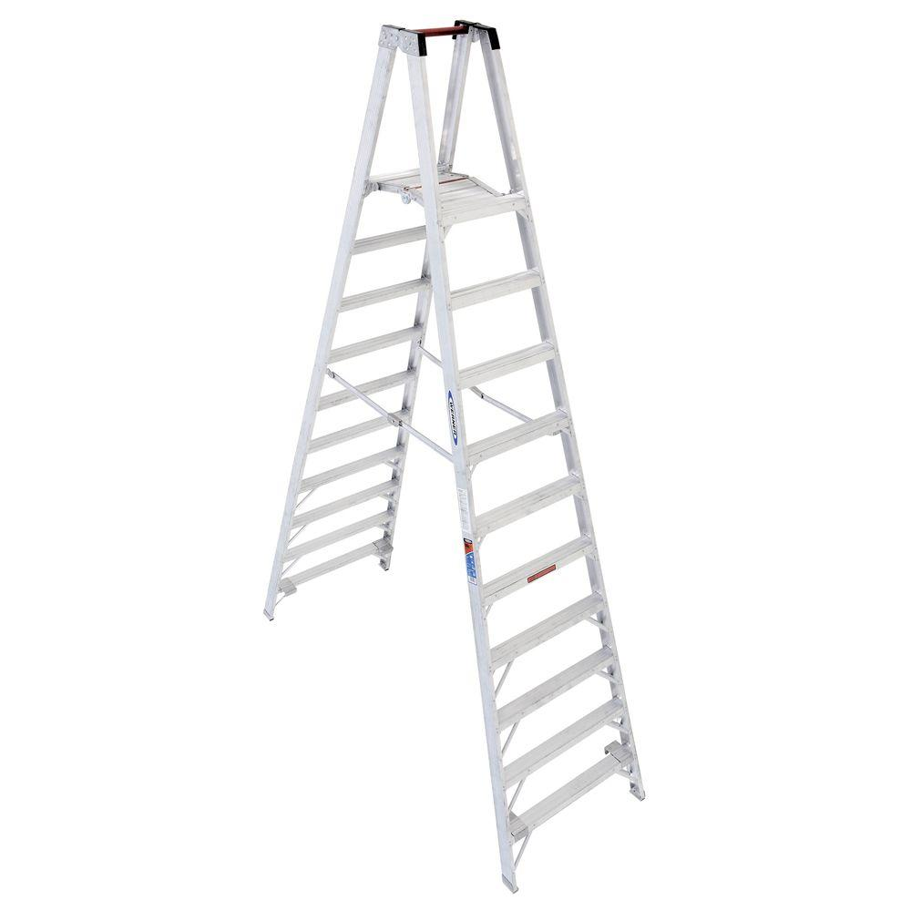 Werner 16 ft. Reach Aluminum Platform Twin Step Ladder with 300 lb. Load Capacity Type IA Duty Rating