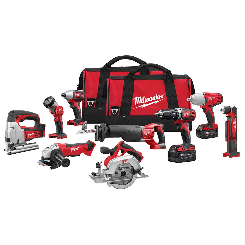 M18 18-Volt Lithium-Ion Cordless Combo Tool Kit (9-Tool) with (2) 3.0 Ah Batteries, (1) Charger, (2) Tool Bags