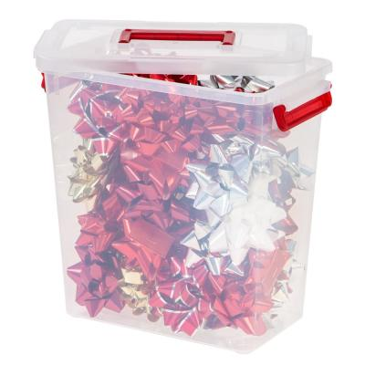 Holiday Bow Box with Handle in Red (3-Pack)