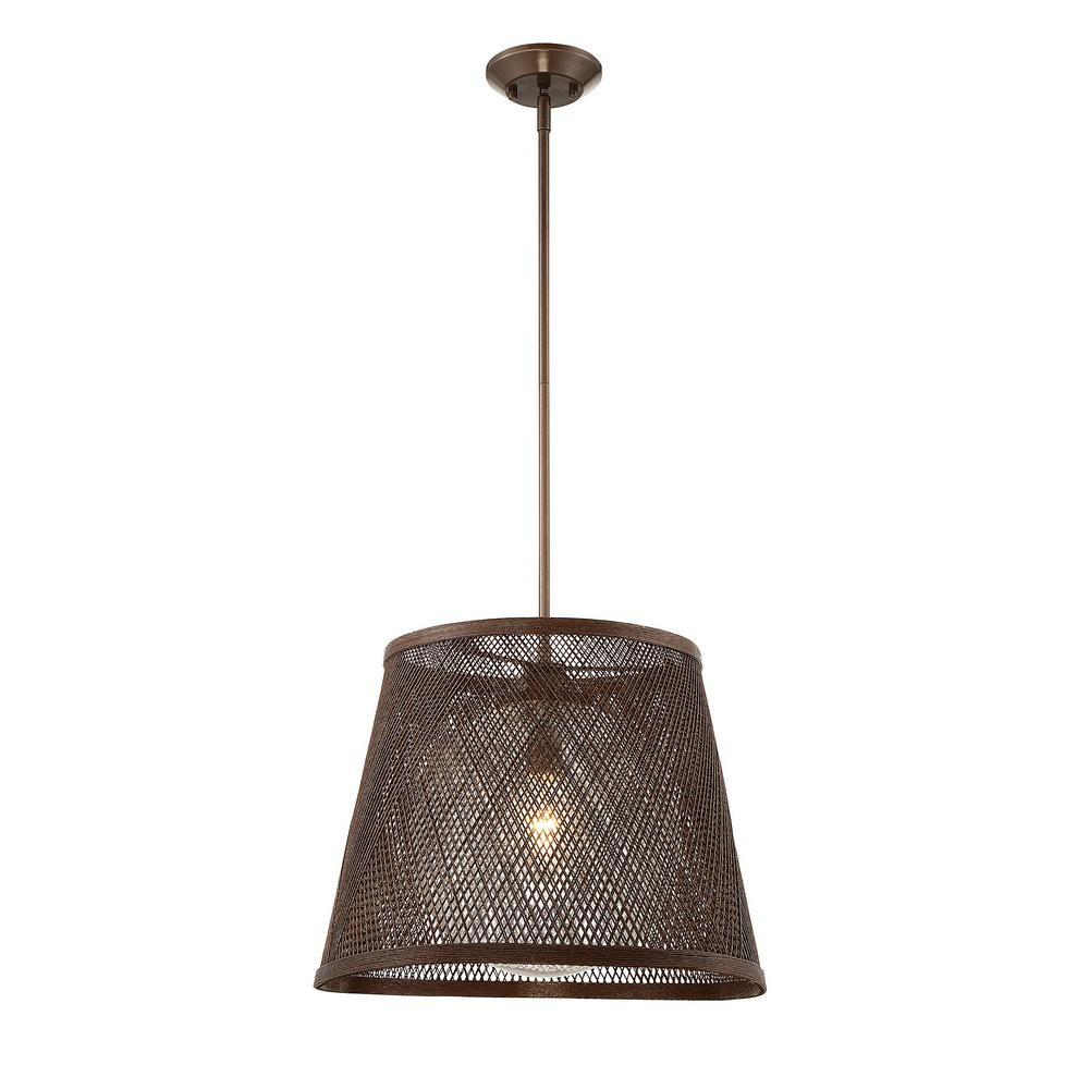 1-Light Architectural Bronze Outdoor Hanging Pendant with Soft White Glass Shade