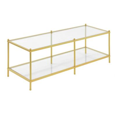 Royal Crest 16.5 in. Glass and Gold Metal Coffee Table