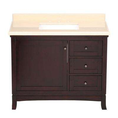 Valega 42 in. Vanity in Tobacco with Engineered Marble Vanity Top in Beige