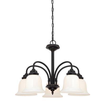 Harwell 5-Light Amber Bronze Chandelier with Frosted Glass Shades
