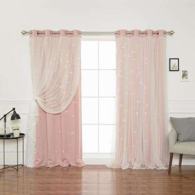 84 in. L Dusty Pink Tulle Overlay Star Cut Out Blackout Curtain Panel (2-Pack)