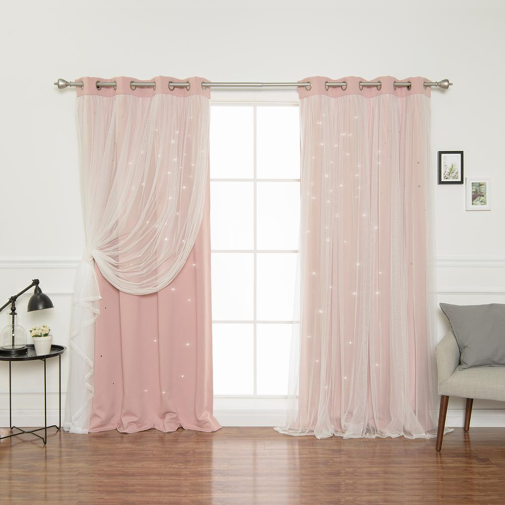 best home fashion 84 in l dusty pinktulle overlay star. Black Bedroom Furniture Sets. Home Design Ideas