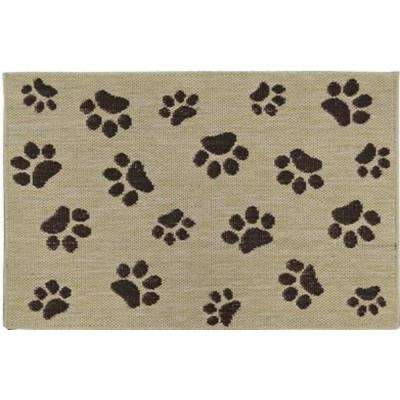 Comfy Pooch Tan/Brown Paw 23.6 in. x 35.4 in. Pet Mat