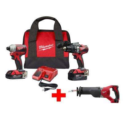 M18 18-Volt Lithium-Ion Brushless Cordless Hammer Drill and Impact Combo Kit with Free M18 SAWZALL Reciprocating Saw