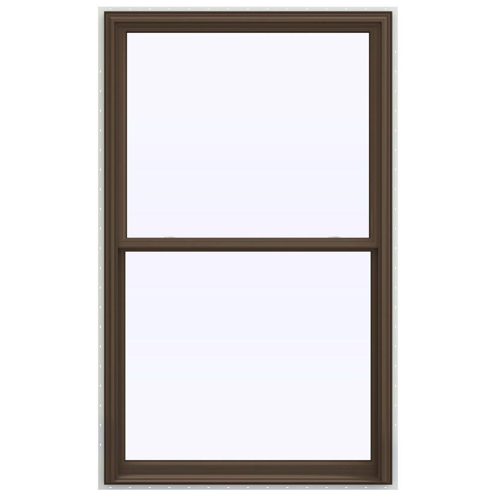 JELD-WEN 43.5 in. x 71.5 in. V-2500 Series Brown Painted Vinyl Double Hung Window with BetterVue Mesh Screen