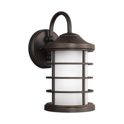 Sauganash 1-Light Antique Bronze 12.25 in. Wall Lantern Sconce