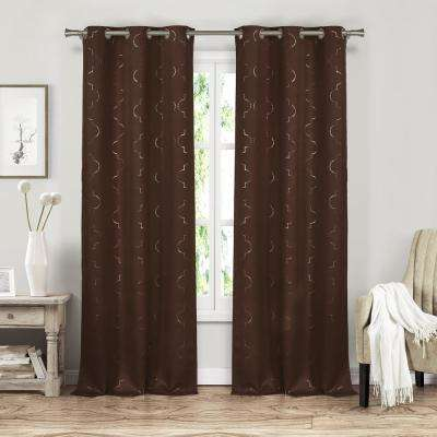 Stephanie 37 in. x 84 in. L Polyester Blackout Curtain Panel in Chocolate (2-Pack)