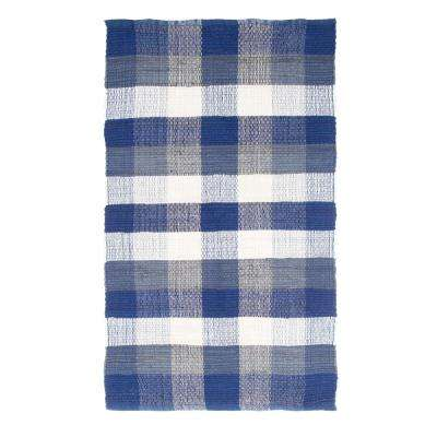 Chindi Plaid Navy 2 ft. 3 in. x 3 ft. 9 in. Area Rug