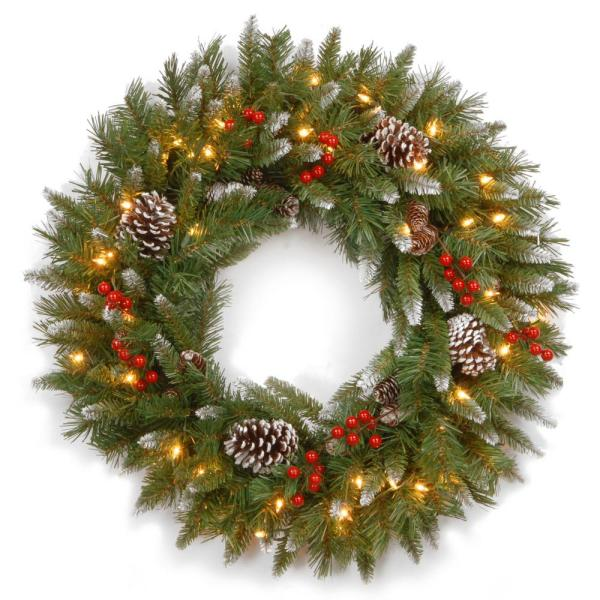 Frosted Berry 30 in. Artificial Wreath with Clear Lights