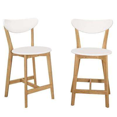 Retro Modern Barstools in White and Natural (Set of 2)