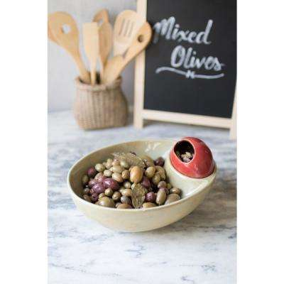 Light Green and Red Decorative Olive Bowl with PIt Holder