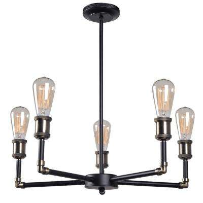 Ancestry 5-Light Bronze Chandelier with Black Shade