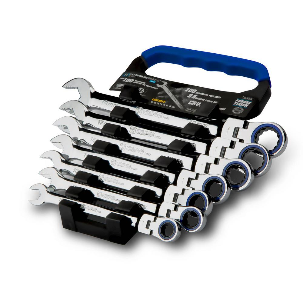 100-Tooth Metric Flex-Head Ratcheting Wrench Set (7-Piece)
