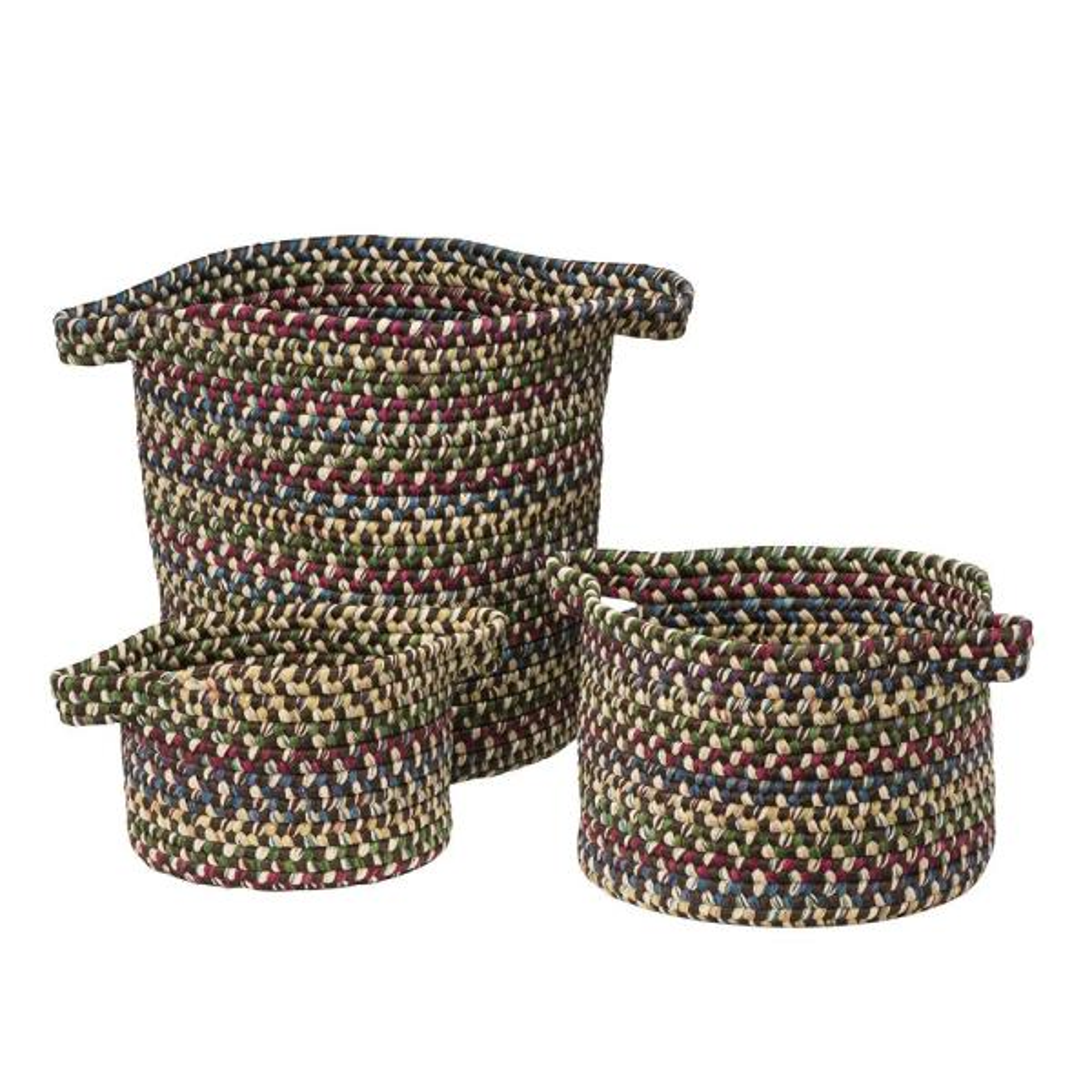 Colonial Mills Vintage Farmhouse Round Polypropylene Basket in Brown (Set of