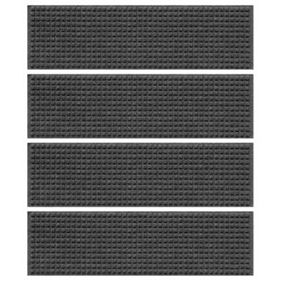 Squares 8.5 in. x 30 in. Stair Treads (Set of 4) Charcoal