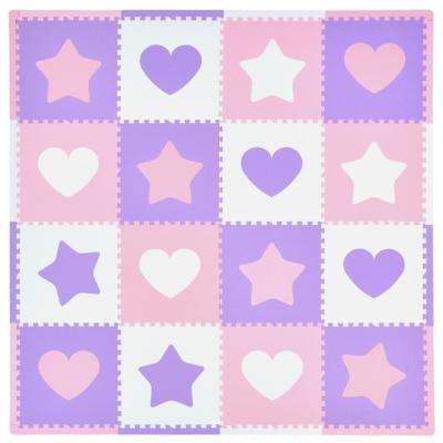 Pink/Purple Hearts and Stars 50 in. x 50 in. Residential Play Mat