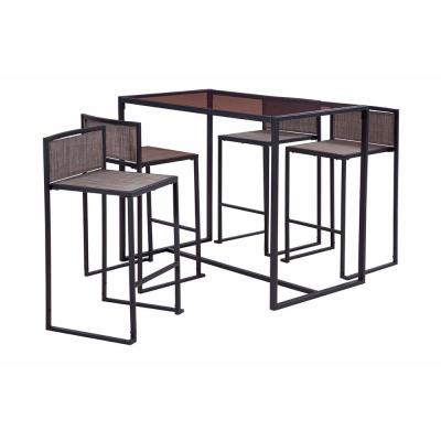 Drake Black 5-Piece Metal Rectangle Bar Height Outdoor Dining Set