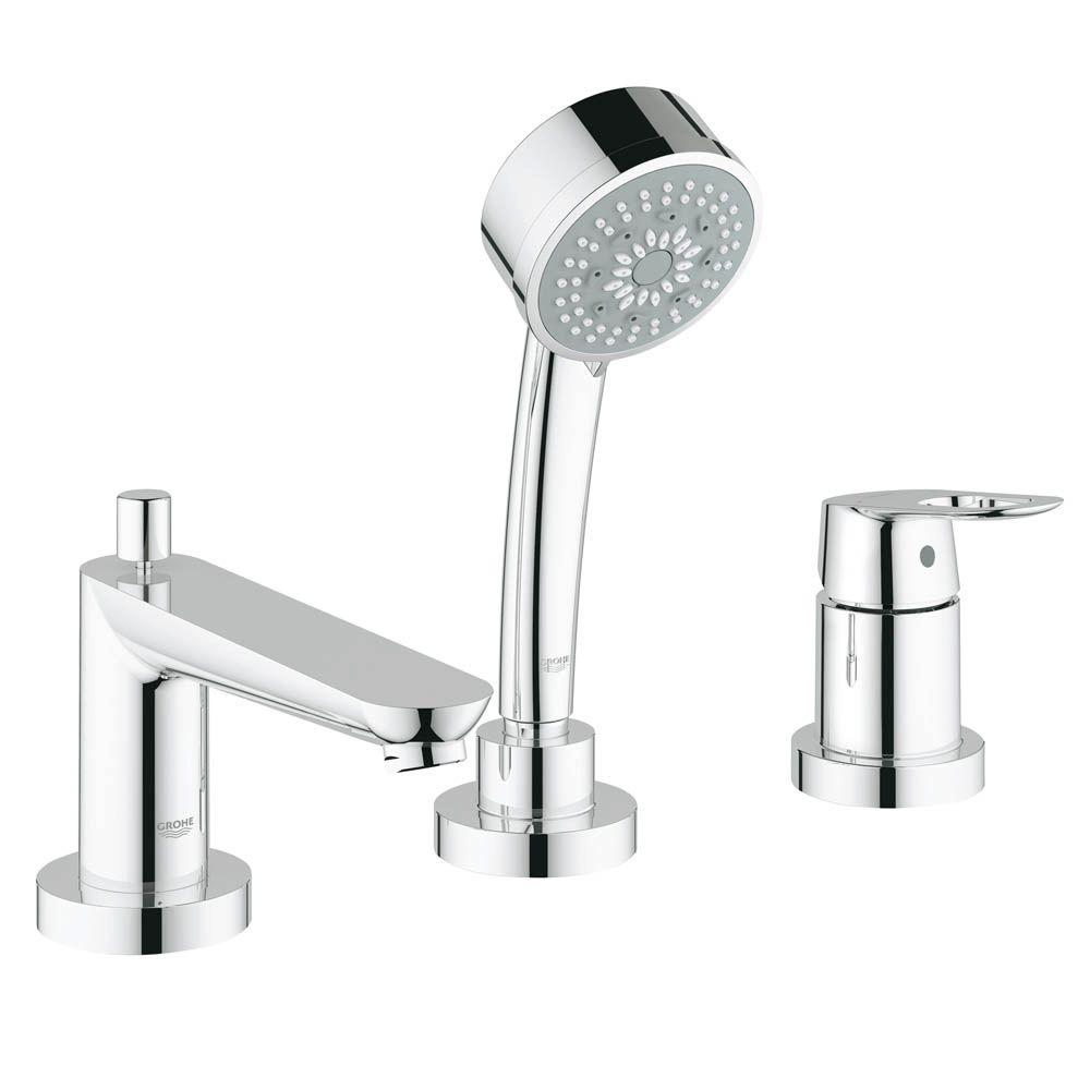 GROHE BauLoop Single-Handle Deck-Mount Roman Tub Faucet in StarLight ...