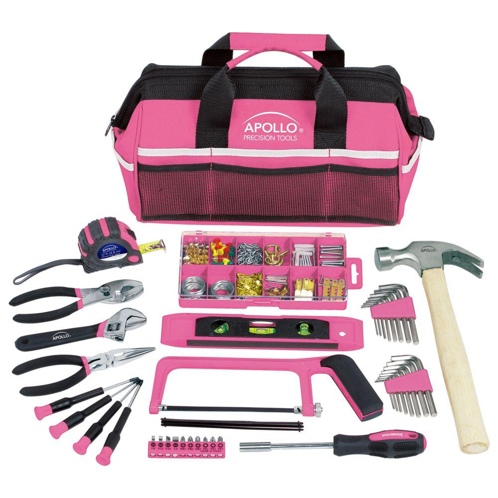 Apollo Household Tool Kit In Soft Sided Bag Pink 201 Piece