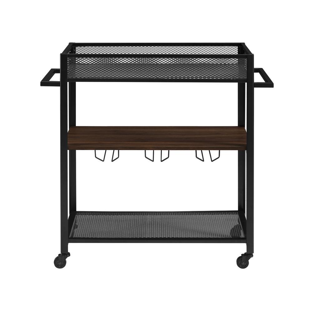 36 in. Hangers Dark Walnut Bar Cart with Shelf