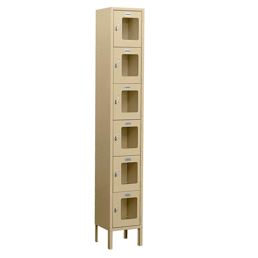 Salsbury Industries S-66000 Series 12 in. W x 78 in. H x 18 in. D 6-Tier Box Style See-Through Metal Locker Unassembled in Tan