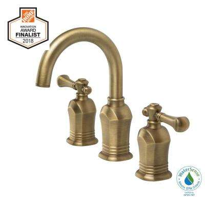 Widespread 2 Handle High Arc Bathroom Faucet In Antique Br