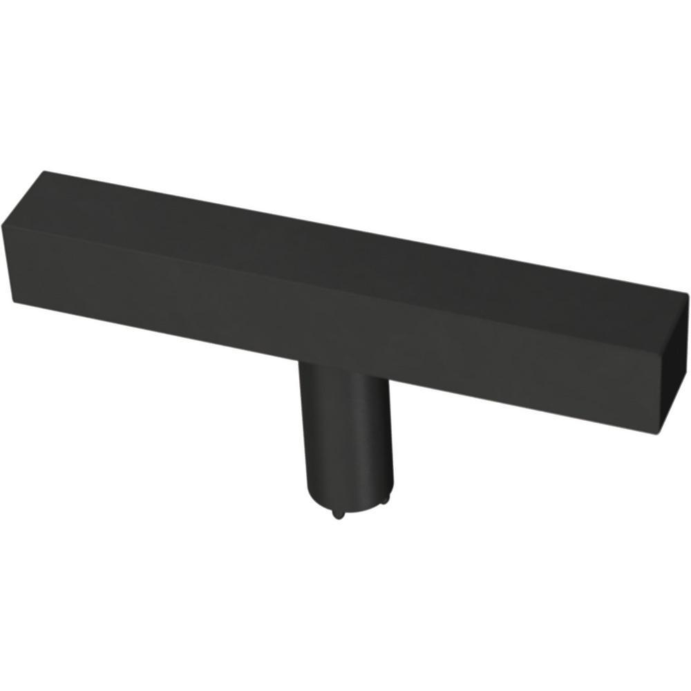 Square Bar 3 in. (76 mm) Matte Black Elongated Bar Cabinet Knob