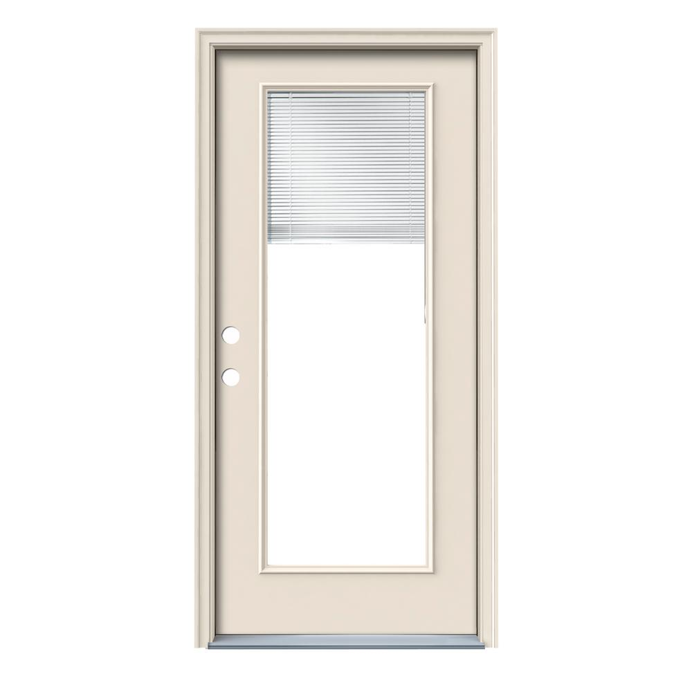 Jeld Wen 32 In X 80 In Full Lite Primed Fiberglass Prehung Right Hand Inswing Front Door W