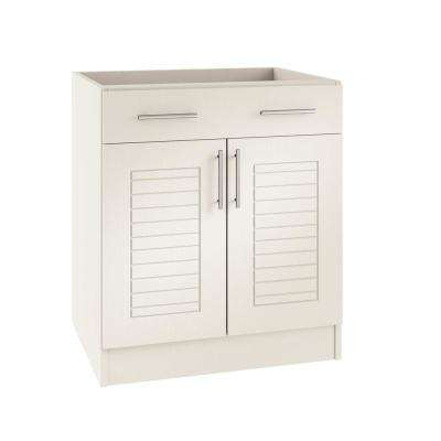 Assembled 24x34.5x24 in. Key West Open Back Outdoor Kitchen Base Cabinet with 2 Doors and 1 Drawer in Radiant White