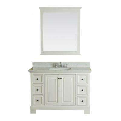 Richmond 48 in. W x 22 in. D Vanity in White with Marble Vanity Top in White with White Basin and Mirror