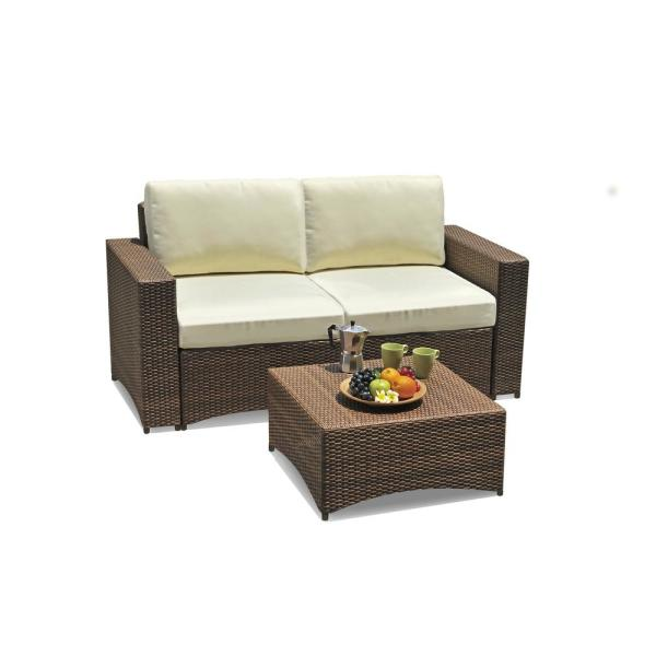Studio Shine 2-Piece Metal Frame Wicker Outdoor Bistro Set of Loveseat and coffee table with beige color cushions