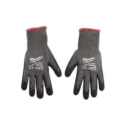 Small Gray Nitrile Dipped Cut 5 Resistant Work Gloves