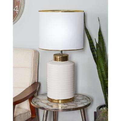24 in. White Cylindrical Block Table Lamp with Gold Accents