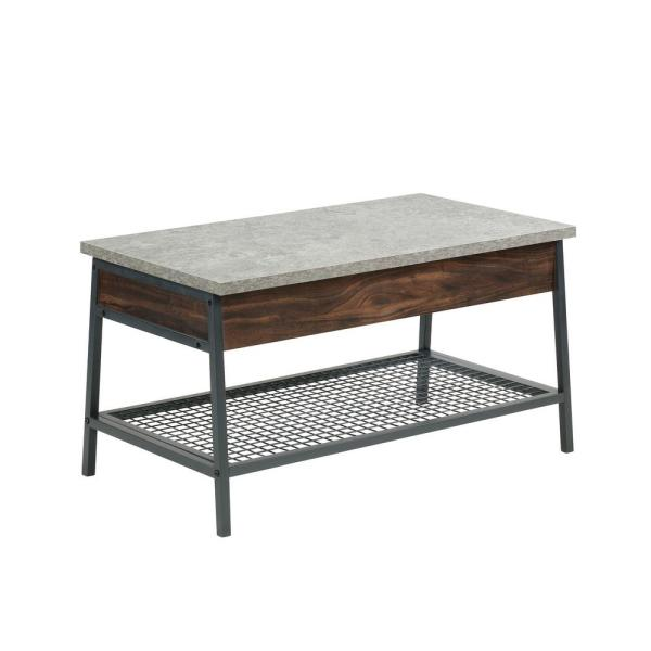 Market Commons 35 in. Rich Walnut/Gray Medium Rectangle Composite Coffee Table with Lift Top