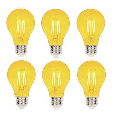 40-Watt Equivalent A19 Dimmable Yellow Filament LED Light Bulb (6-Pack)