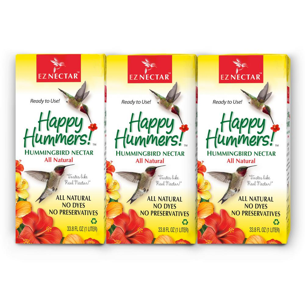 EZNectar 33 8 fl  oz  Hummingbird Nectar/Food Ready-to-Use 100% Sugar and  Water (3-pack)