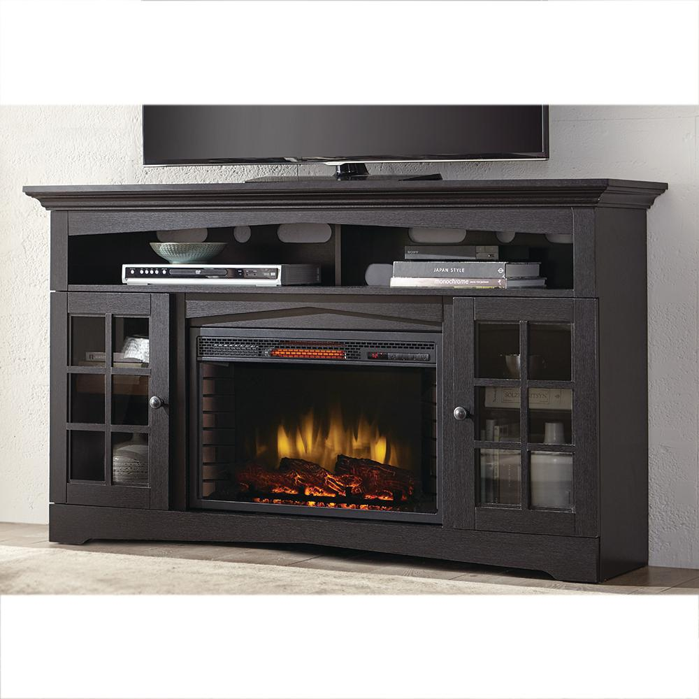 Make your living space feel cozier with this Home Decorators Collection Avondale Grove Media Console Infrared Electric Fireplace in Aged Black.
