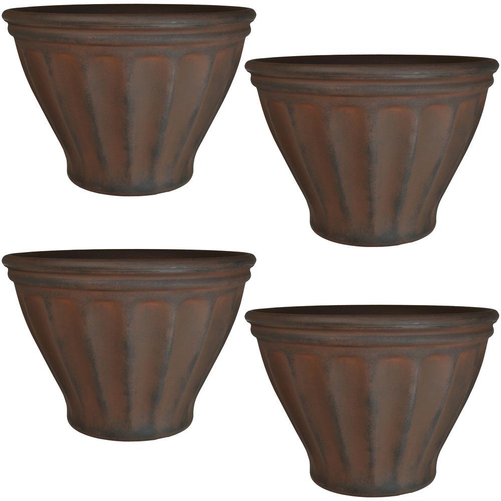 16 in. Rust Charlotte Resin Outdoor Flower Pot Planter (4-Pack)