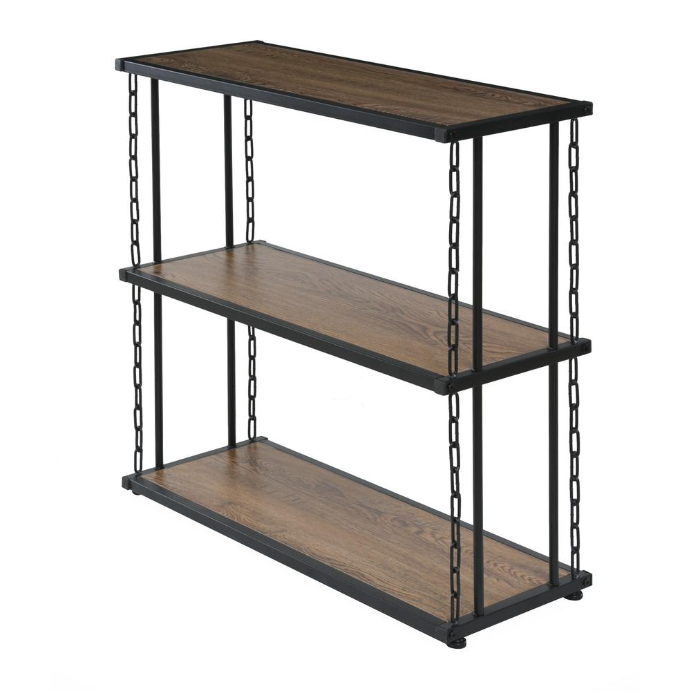 Folsom Ridge 3-Tier Shelf, wood and carbon steel