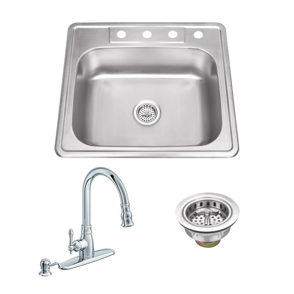 All in one drop in stainless steel 25 in 4 hole single bowl kitchen sink with polished chrome kitchen faucet