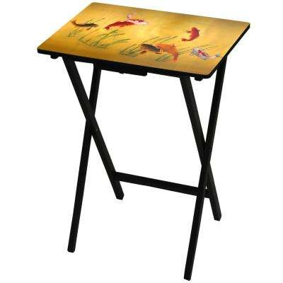 Oriental Furniture 19 in. x 13.75 in. Lucky Fish TV Tray in Gold