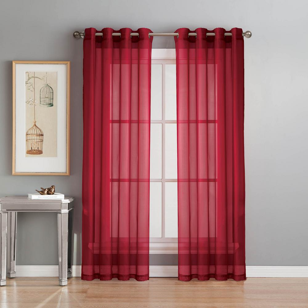 Window elements sheer diamond sheer voile red grommet extra wide curtain panel 56 in