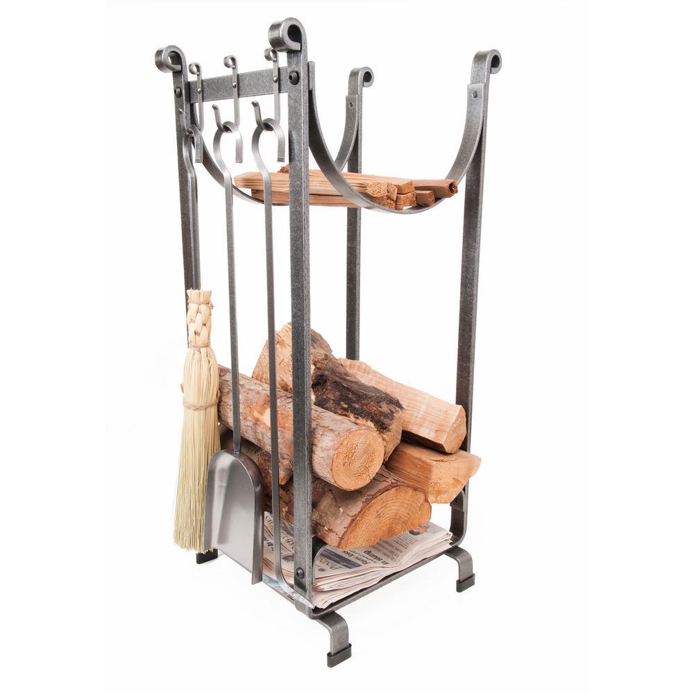 Enclume Handcrafted Sling Fireplace Log Rack W Newspaper Holder
