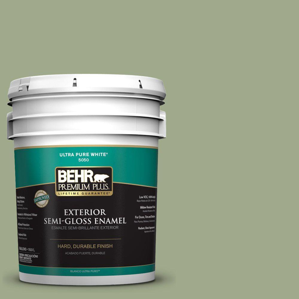 BEHR Premium Plus 5-gal. #PMD-36 Mountain Sage Semi-Gloss Enamel Exterior Paint
