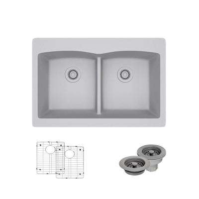 Drop-In Composite Granite 33 in. Double Bowl Kitchen Sink in Pewter