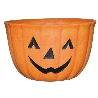 Pumpkin 9 in. x 6.5 in Orange Resin Planter