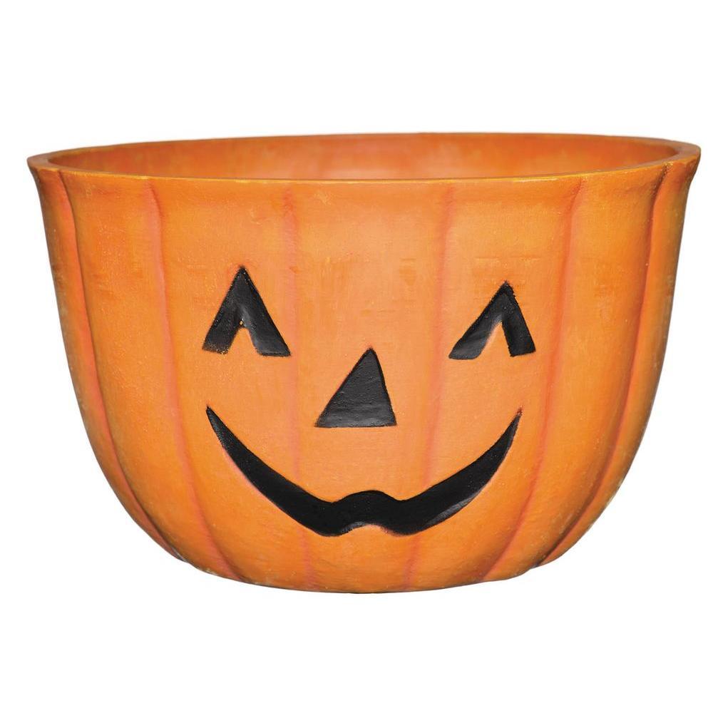 Pumpkin 9 in. x 6.5 in Orange Resin Planter